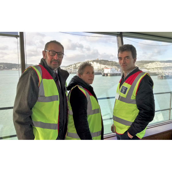 Rob Bird at the Dover Harbour Control Room with Baroness Kramer, Liberal Democrat Treasury Spokesperson, and Tom Brake MP, Liberal Democrat spokesperson on Exiting the European Union and International Trade