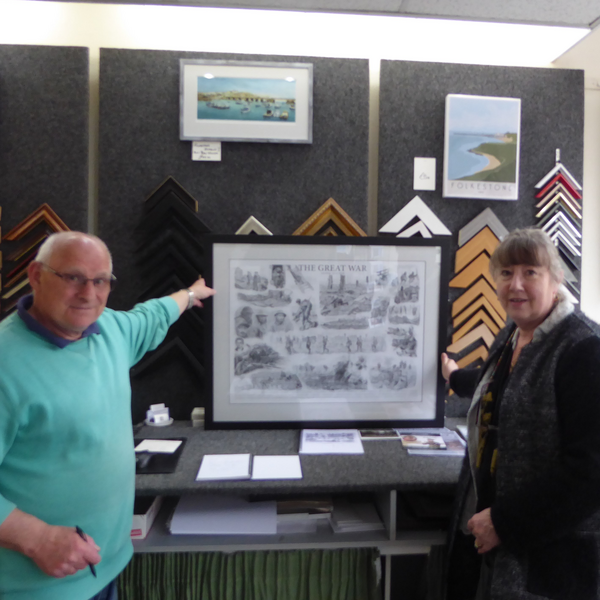 Alan Sole and Viv Kenny with WW1 print (The Shorncliffe Trust)