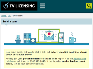 BBC TV Licencing Scam Email page heading