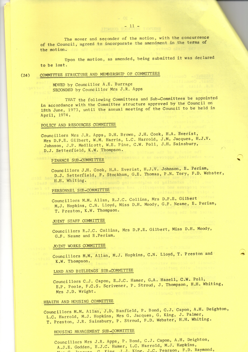 Minutes of July 1973 Shepway Council meeting