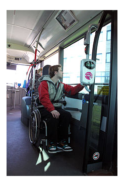 Disabled person on bus